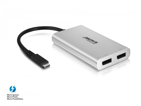 Akitio T3-2DP Thunderbolt 3 to Dual DisplayPort Adapter 4K monnitor USB-C cable