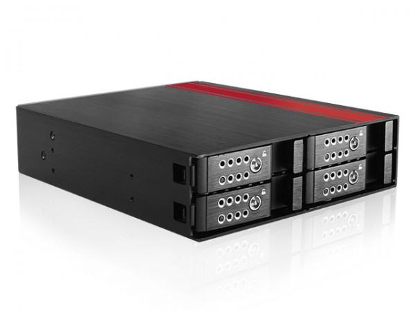 "iStarUSA BPU-124DE-SS Aluminum 5.25"" to 4x2.5"" SAS SATA HDD SSD Hot-swap Rack"