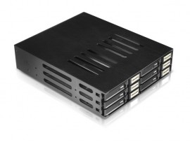 "iStarUSA BPU-126-SA Aluminum 5.25"" to 6x2.5"" SATA 6Gbps HDD SSD Hot-swap Rack"