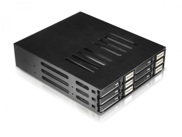 "iStarUSA BPU-126-SA Aluminum 5.25"" to 6x2.5"" SATA 6Gbps HDD SSD Hot-swap Rack"