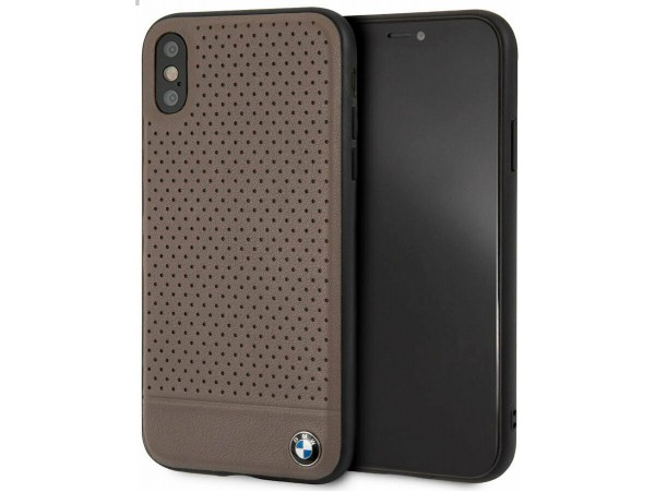 CG MOBILE IPhone XS MAX BMW SIGNATURE Perforated Leather TPU Case Brown Cover