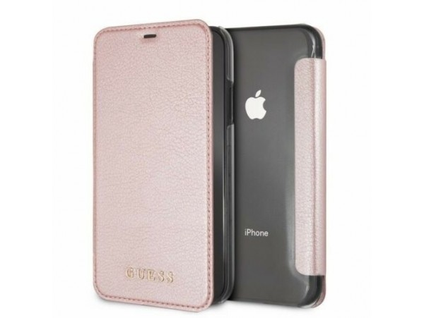 IPhone XR CG MOBILE GUESS IRIDESCENT PU Leather Rose Gold Book Case Flip Cover