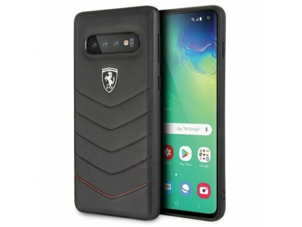 CG MOBILE Galaxy S10 Ferrari Logo HERITAGE QUILTED Leather Hard Case Black Cover