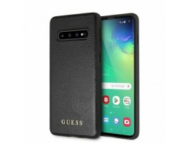CG MOBILE Galaxy S10+ Plus GUESS Logo IRIDESCENT Leather Hard Case Cover Black