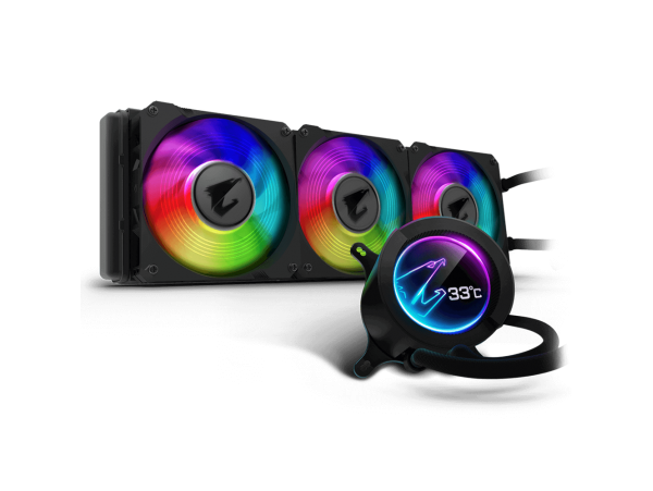 NEW Gigabyte Aorus Liquid Cooler 360 Circular LCD Display Triple 120mm ARGB Fans