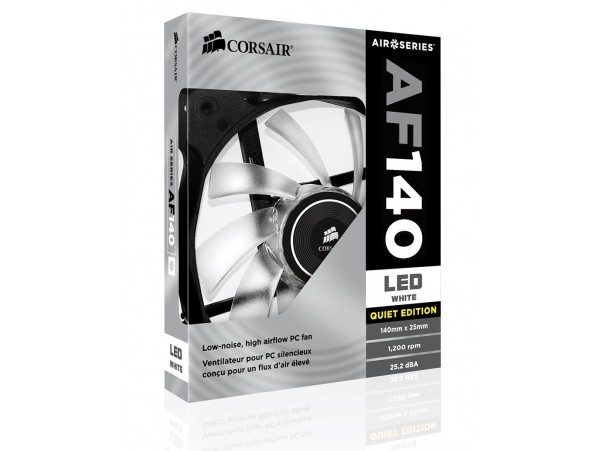 Corsair AF140 Fan LED Color White Quiet Edition High Airflow 140mm 1200RPM 3-Pin