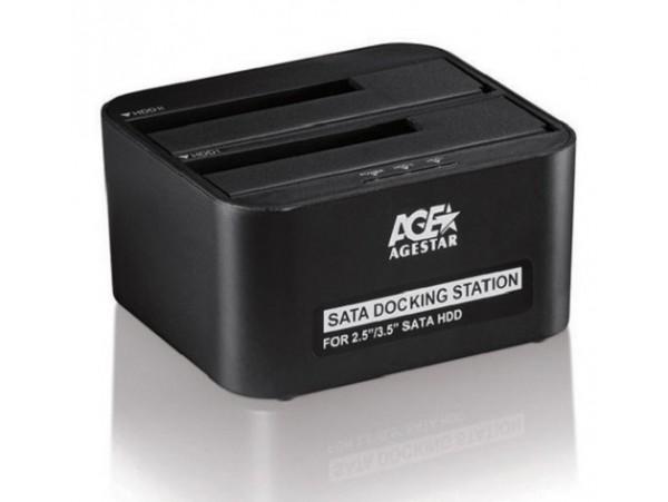 "AgeStar 3UBT6 USB 3.0 to 2.5"" 3.5"" SATA HDD SSD Hard Drive 2 Bay Docking Station"
