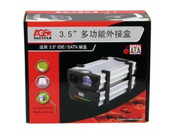 """AgeStar CCB3A USB 2.0 E-Sata 3.5"""" SATA IDE HDD Hard Drive Case LCD Temp control"""