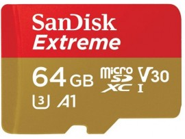 SanDisk Extreme 64GB microSD SDXC UHS-I Memory Card Adapter SDSQXAF-064G-GN6MA