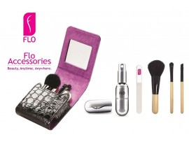 FLO Beauty Organizer Make Up Case Set Perfume Atomiser Glass Nail File Brushes