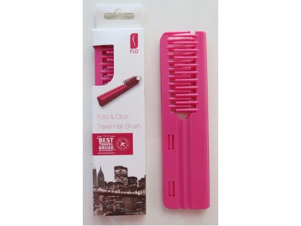 FLO Pocket Travel Pink Hair Brush Comb FOLD & CLICK Hairdressing Styling Salon Beauty