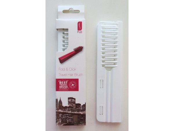 FLO Pocket Travel White Hair Brush Comb FOLD & CLICK Hairdressing Styling Salon Beauty