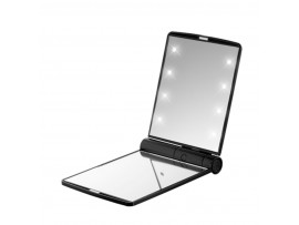 FLO Celebrity Mirror Black 8 LED Light Cosmetic Makeup Portable Compact Folding Pocket