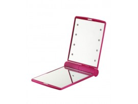 FLO Celebrity Mirror Pink 8 LED Light Cosmetic Makeup Portable Compact Folding Pocket