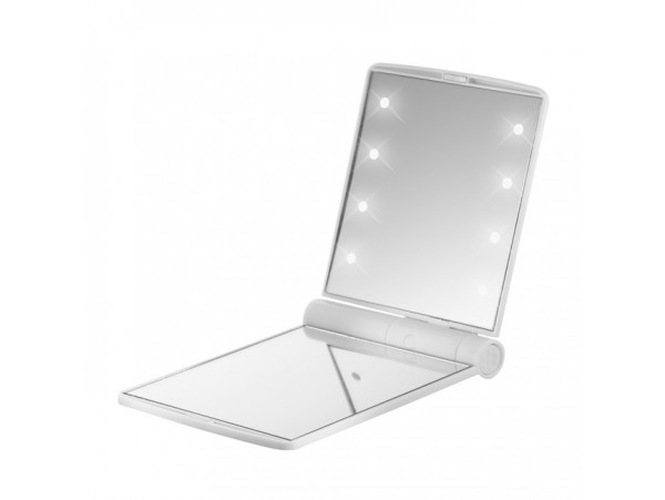 FLO Celebrity Mirror White 8 LED Light Cosmetic Makeup Portable Compact Folding Pocket