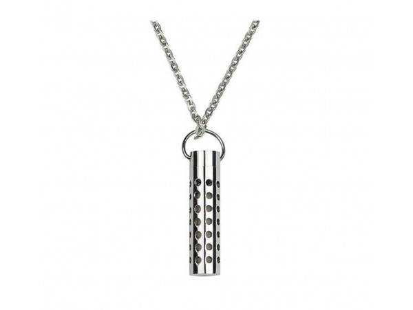 Fashion Men Jewelry Cylinder Perfume Fil Pendant Necklace Chain Fragrance SILVER