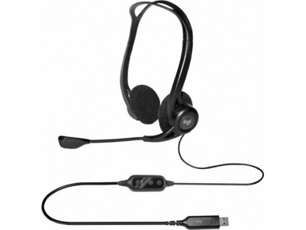 Logitech 960 USB Computer Headset stereo sound In-line volume & mute controls