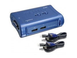 TRENDNET TK-207K 2-Port VGA USB KVM Switch Monitor Keyboard Mouse Cables Include