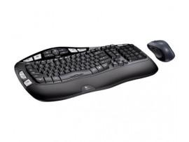 Logitech MK550 Wave Combo Wireless Keyboard Mouse English Hebrew Keypad Computer