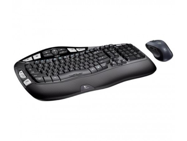 Logitech MK550 Wave Combo Wireless Keyboard Mouse English Hebrew Keypad Computer