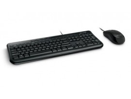 Microsoft USB Wired Desktop 600 Black Standard Keyboard Mouse English Hebrew PC
