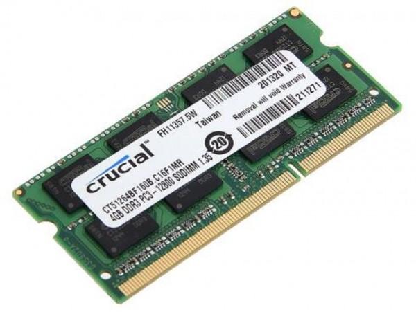 Crucial SODIMM 4GB DDR3 1600Mhz PC3-12800 CL11 CT51264BF160B Laptop RAM Memory