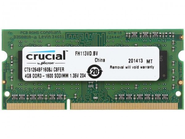 Crucial SODIMM 4GB DDR3L 1600Mhz PC3-12800 CL11 CT51264BF160BJ Laptop RAM Memory