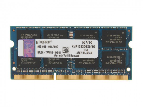 Kingston DDR3 8GB 1333MHz SODIMM PC3-10600 CL9 KVR1333D3S9/8G Laptop RAM Memory