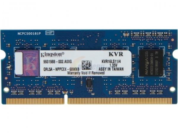 Kingston 4GB 1600MHz PC3-12800 DDR3 CL11 SO-DIMM KVR16LS11/4 Laptop RAM Memory