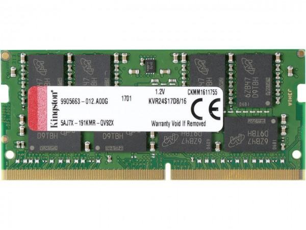 KINGSTON 16GB SODIMM DDR4 2400MHZ PC4-19200 KVR24S17D8/16 Laptop Memory RAM