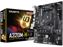 NEW Gigabyte GA-A320M-H Motherboard CPU AM4 AMD Ryzen DDR4 HDMI DVI Gigabit LAN
