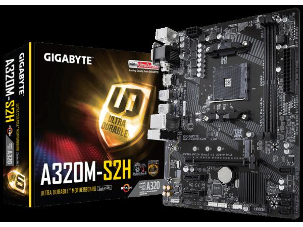 Gigabyte GA-A320M-S2H Motherboard CPU AM4 AMD Ryzen DDR4 DVI VGA HDMI 110mm M.2