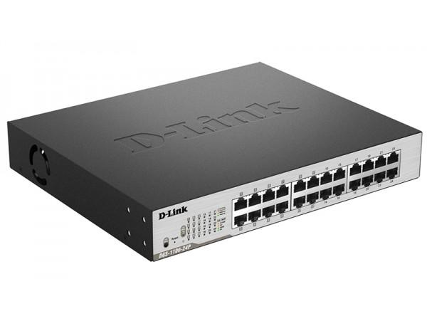 D-Link DGS-1100-24P 24-Port Gigabit EasySmart Metal Rackmount Switch PoE+ Ports