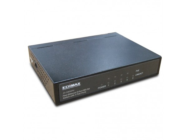 NEW EDIMAX ES-5804PH Fast Ethernet 5-Port LAN Switch 4 PoE+ 30W Ports Network