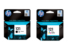 Genuine HP 2 pack Ink Cartridge 121 Black Tri-color D2563 F2483 F4583 Printer