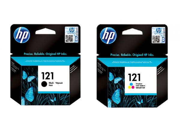 Genuine HP 2 pack Ink Cartridge 121 Black Tri-color D2563 F2483 F4583 Printer