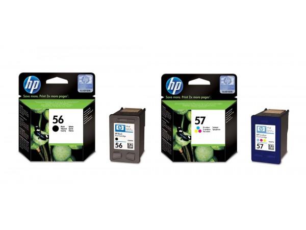 Genuine HP 2 pack Ink Cartridge 56 Black 57 Tri-color Deskjet 7350 5550 Printer
