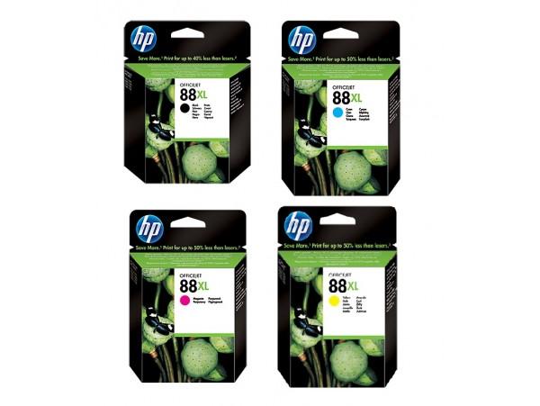 Genuine HP 88XL 4-pack Black Cyan Magenta Yellow Ink Cartridge Officejet Printer