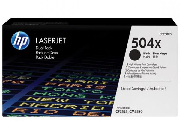 Genuine HP 504X Black 2-pack CE250XD Toner Cartridge LaserJet CM3530 CP3525