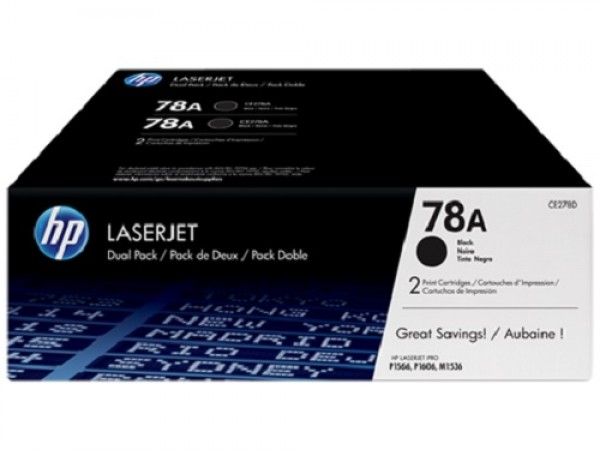 Genuine HP 78A 2-pack Black CE278AD Toner Cartridge LaserJet M1536 P1606 P1566