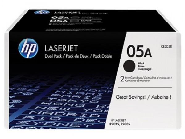 Genuine HP 05A 2-pack Black CE505D Toner Cartridge Printer LaserJet P2035 P2055