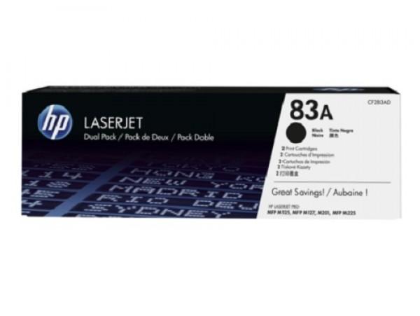 Genuine HP 83A 2-pack Black CF283AD Toner Cartridge LaserJet M201 M125 M127 M225
