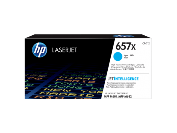 HP High Yield 657X Cyan CF471X Toner Cartridge Color LaserJet Pro MFP M681 M682