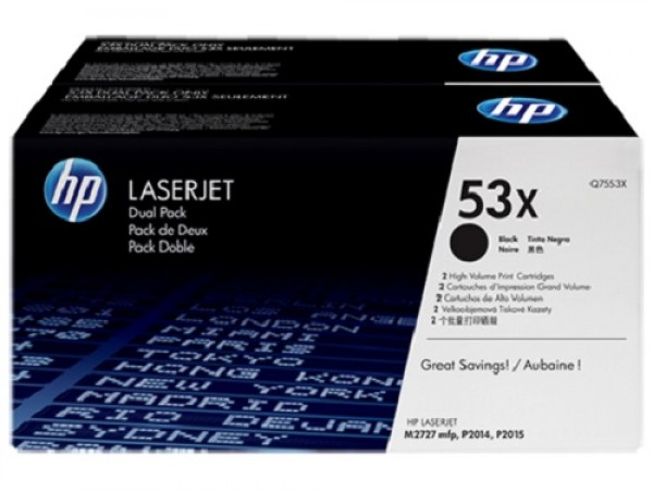 Genuine HP 53X 2-pack Black Q7553XD Toner Cartridge Printer P2014 M2727 P2015