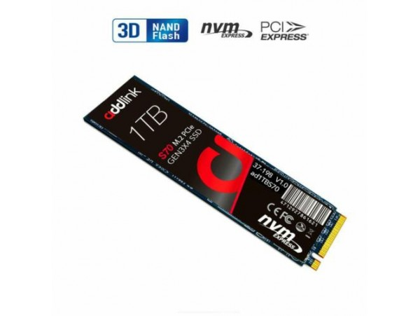 Addlink S70 1.0TB SSD NVMe PCIe Gen3x4 M.2 2280 3D TLC NAND Solid State Drive